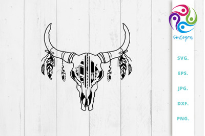 Cow Medallion Skull With Feathers Svg File