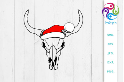 Cow Skull With Christmas Hat Svg File
