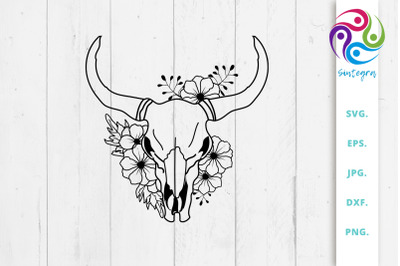 Cow Skull With Flowers Svg File