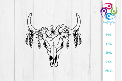 Floral Cow Skull With Feathers Svg File