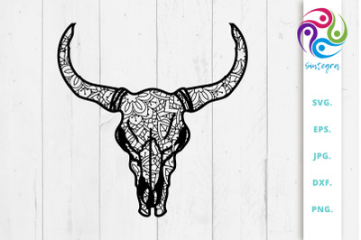 Zentangle Cow Skull Svg File