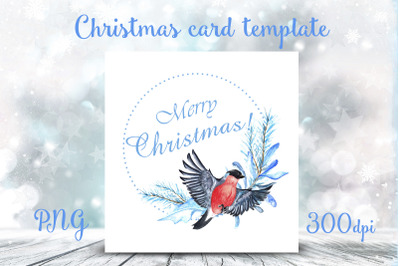 Watercolor template for Christmas card. PNG, transparent bg