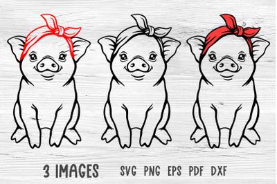 Pig with bandana svg Pig svg Farm animals svg Farmhouse svg cut files