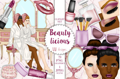 Beauty Clipart, Make Up Illustrations, Fashion Girl, Self Care Clipart