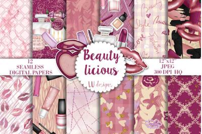 Makeup Digital Papers, Beauty Background, Glam Make Up Scrapbook Paper