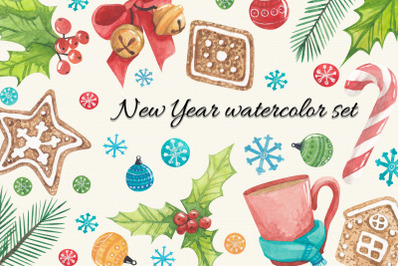 new year watercolor set, watercolor stickers happy new year