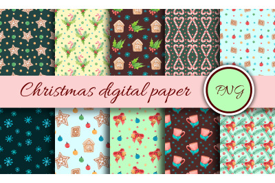 New Year's digital paper. Watercolor print with christmas elements