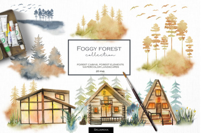 Foggy forest collection. Cabins & landscapes.