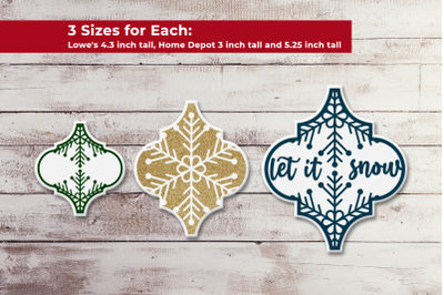 Arabesque Tile Ornament Snowflake Trio | SVG | PNG | DXF | EPS