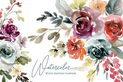 Watercolor Flowers Vintage Roses Floral Png