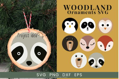 Christmas Ornament SVG - Woodland Animals SVG Cut File