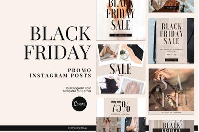 Black Friday Promo Instagram Posts Canva Template