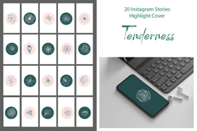 Instagram Highlight Stories cover turquoise and vanilla