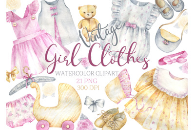 Watercolor vintage Girl Clothes Clipart retro Clothes For Girls clip a