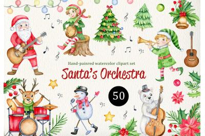 Music Christmas watercolor clipart, Cute Cartoon Santa, Elf, Reindeer