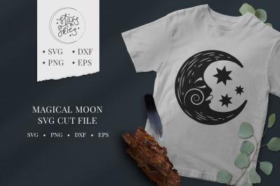 Magical Crescent Moon SVG Cut File