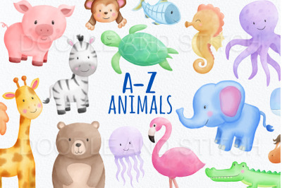 Alphabet Animal Watercolor Clipart