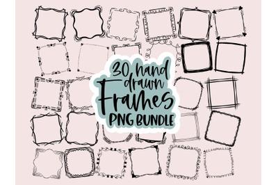 Hand Drawn Frame png, Doodle Frame png, Hand drawn frame, Square Frame