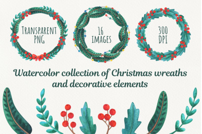 Christmas collection of wreaths and decorative elements, watercolor cl