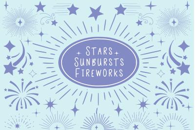 Stars Sunburts And Fireworks
