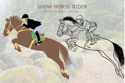 Hand drawn show horse rider vector