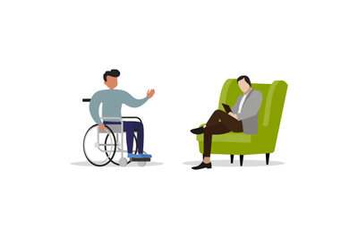 Psychologist consulting invalid on wheelchair. Vector psychotherapy to