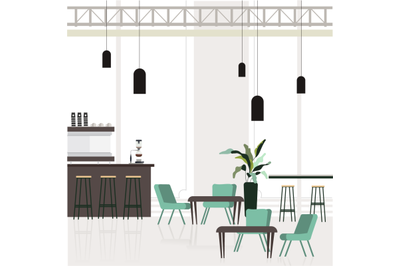 Empty interior cafe, cafeteria design with bar counter and place for c