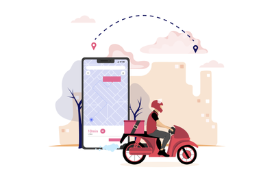 Delivery pizza fast food by mobile application