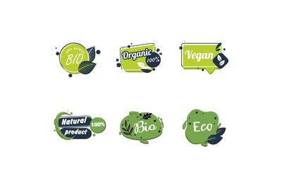 Nature food tag, healthy eco vegan logo, nutrition bio sticker