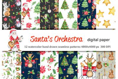 Cute Christmas watercolor digital paper, Cartoon Santa, Elf, Reindeer