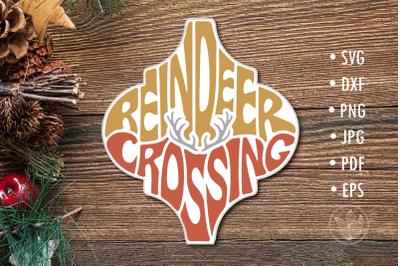 Arabesque Tile svg Reindeer crossing lettering design