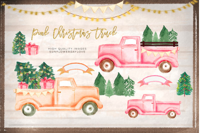 Pink Christmas Truck clipart, Peach Christmas Vintage Truck clipart