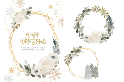 Winter floral frames, Winter frames Clipart, Polygonal Gold Frames set