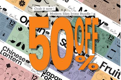 Modern Slim Icons Bundle   50% Off