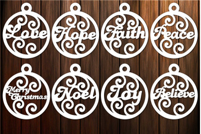 Christmas Baubles Svg, Christmas svg, Hope, Love, Peace
