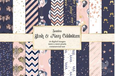 Blush and Navy Celebration Digital Paper