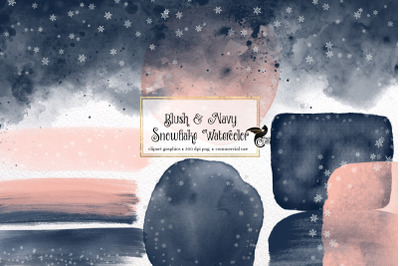 Blush and Navy Snowflake Watercolor Paint Elements