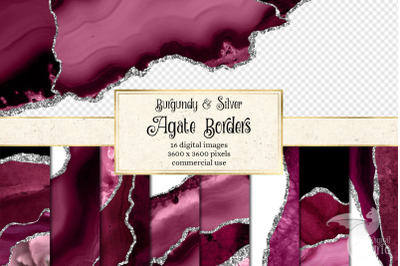 Burgundy and Silver Agate Borders