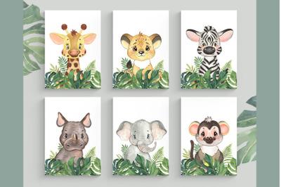 Set of 6 Safari Animal. Nursery Wall Decor. Tropical Prints.