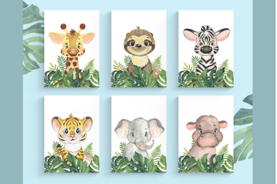 Set of 6 Safari Animal. Nursery Wall Decor. Tropical Animals Prints.