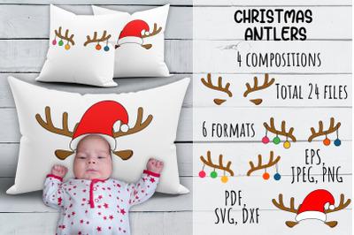 Christmas Antlers SVG. Christmas Pillowcase Bundle.