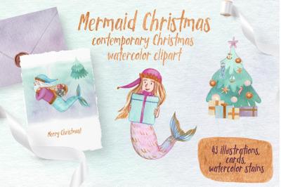 Mermaid Christmas Watercolor Clipart. Cute illustrations