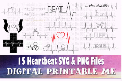 EKG svg, Heartbeat silhouette bundle, heart beat PNG, clip art, 15 Dig