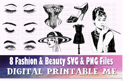 Fashion svg, Beauty silhouette bundle, Makeup PNG, clip art, 8 Digital