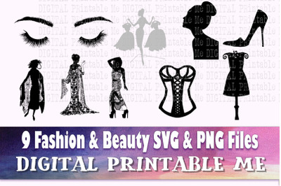 Fashion svg, Beauty silhouette bundle, Women PNG, clip art, 8 Digital