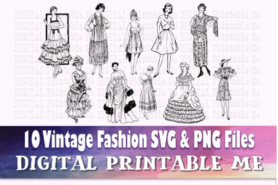 Vintage Fashion svg, Beautiful woman silhouette bundle, Fancy Lady PNG
