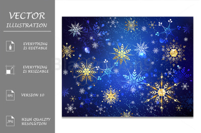 Blue Background with Golden Snowflakes