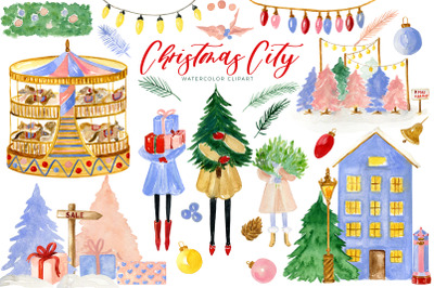Christmas City. Watercolor Clipart