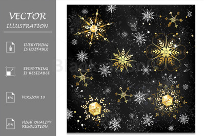 Golden Snowflakes on Black Background