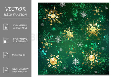 Golden Snowflakes on Green Background